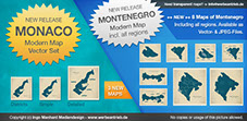 New modern maps of Monaco and Montenegro